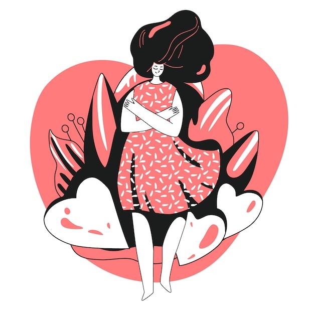 Ame a si mesmo e cuide-se conceito. menina, abraçando-se com grande amor coração. ilustração de cuidados de saúde de menina sobre tomar tempo para si mesmo. Vetor Premium