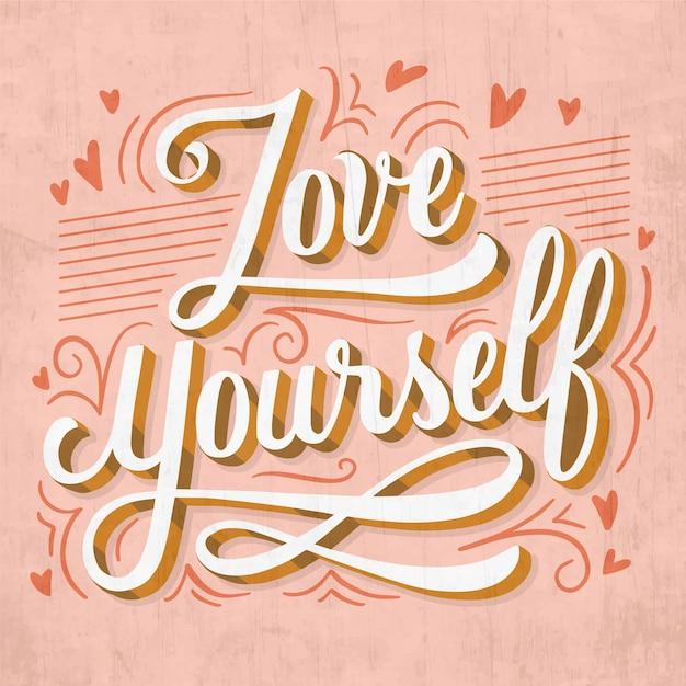 Ame a si mesmo letras de amor próprio Vetor grátis