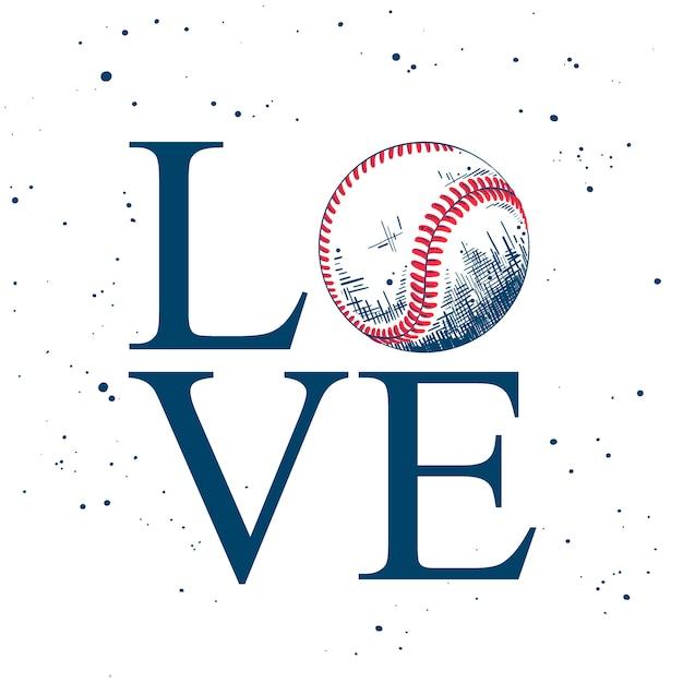 Ame. esboço de bola de beisebol com tipografia Vetor Premium