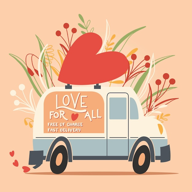 Ame o veículo de caminhão com um coração e uma mensagem de amor. mão colorida ilustrações desenhadas com letras de mão para feliz dia dos namorados. cartão de felicitações. Vetor Premium