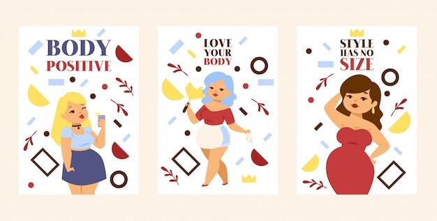 Ame seu corpo, corpo positivo, o estilo não tem tamanho conjunto de pôsteres, cartões mais meninas tamanho em vestido elegante e roupas casuais. Vetor Premium