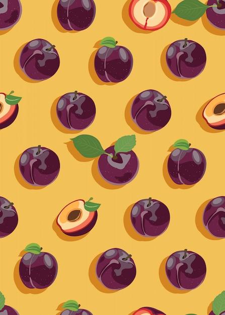 Ameixa frutas e fatia sem costura padrão Vetor Premium