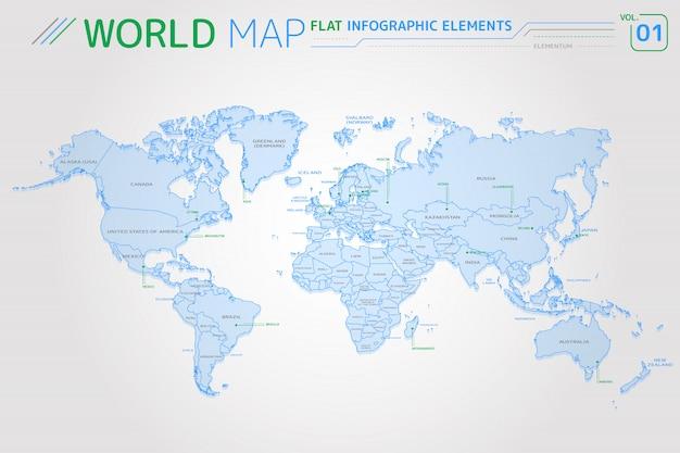 América do norte e do sul, ásia, áfrica, europa, austrália e oceania mapas vetoriais Vetor Premium
