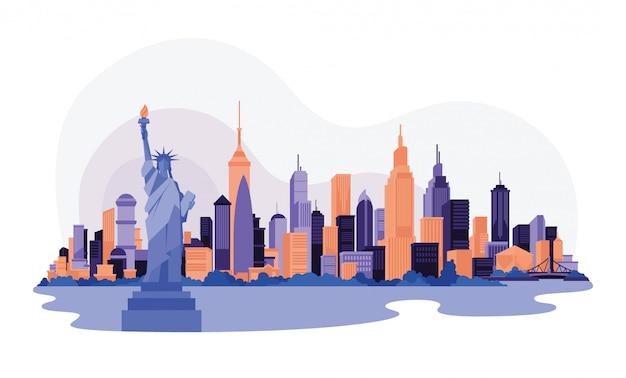 América nova iorque cidade skyline céu raspador web ilustração Vetor Premium