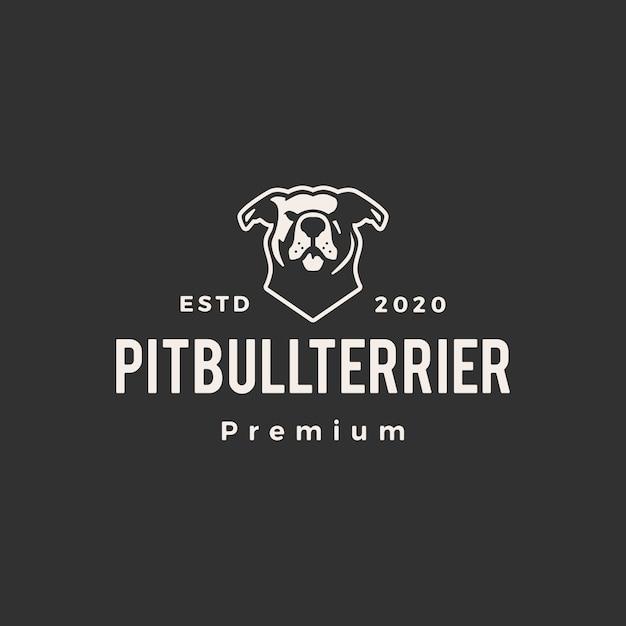 American pitbull terrier hipster logotipo vintage icon ilustração Vetor Premium
