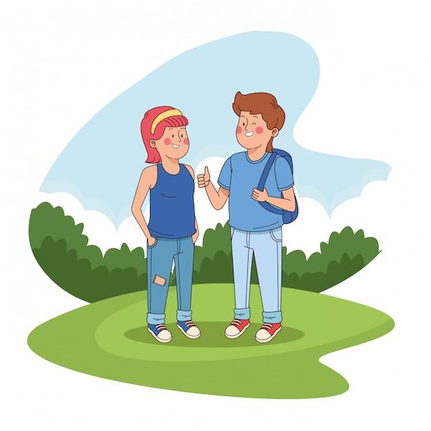 Amigos adolescentes em cartoons parque Vetor grátis