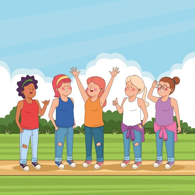 Amigos adolescentes nos desenhos animados do parque Vetor grátis