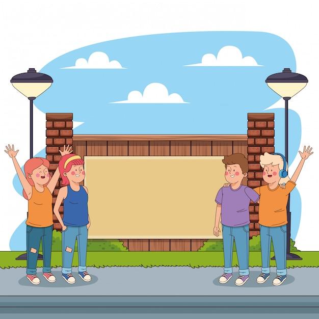 Amigos adolescentes, tendo, divertimento, desenhos animados Vetor grátis