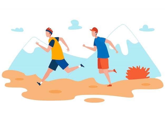 Amigos ao ar livre jogging flat Vetor Premium