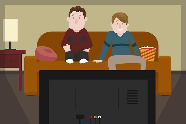Amigos, assistindo a um filme e comendo pipoca Vetor grátis