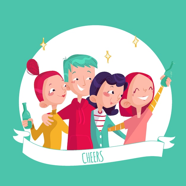 Amigos brindando juntos ilustração Vetor grátis