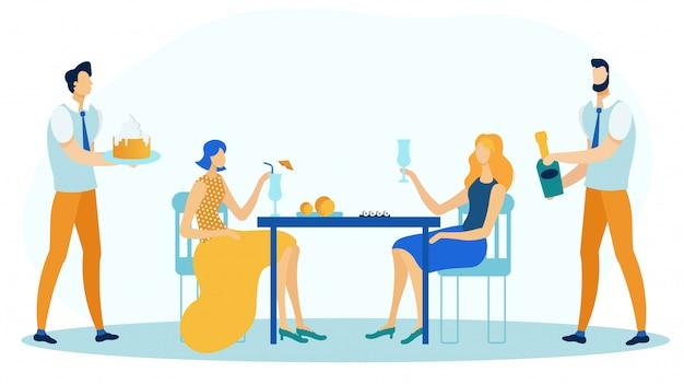 Amigos, celebrando, aniversário, par, namorando, apartamento Vetor Premium