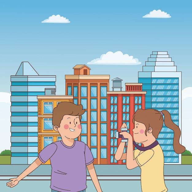 Amigos de adolescentes sorrindo e se divertindo dos desenhos animados Vetor Premium