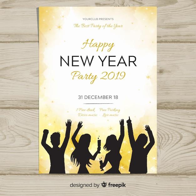 Amigos de festa silhueta cartaz de ano novo Vetor grátis