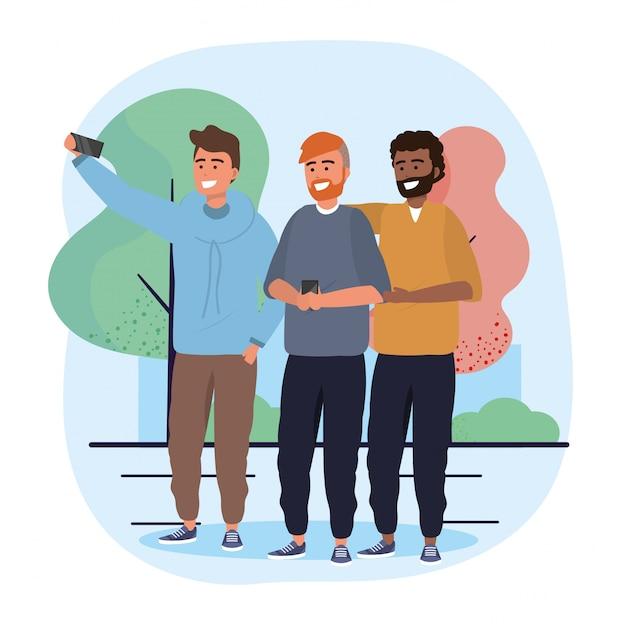 Amigos de homens junto com smartphone selfie Vetor Premium