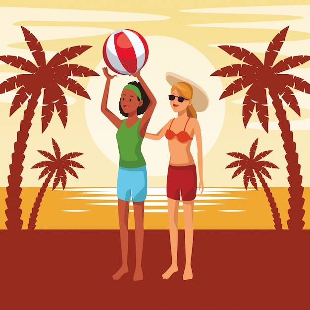 Amigos, desfrutando, verão, caricatura Vetor grátis