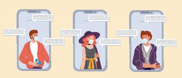 Amigos do adolescente se comunicando via chat por smartphone Vetor Premium