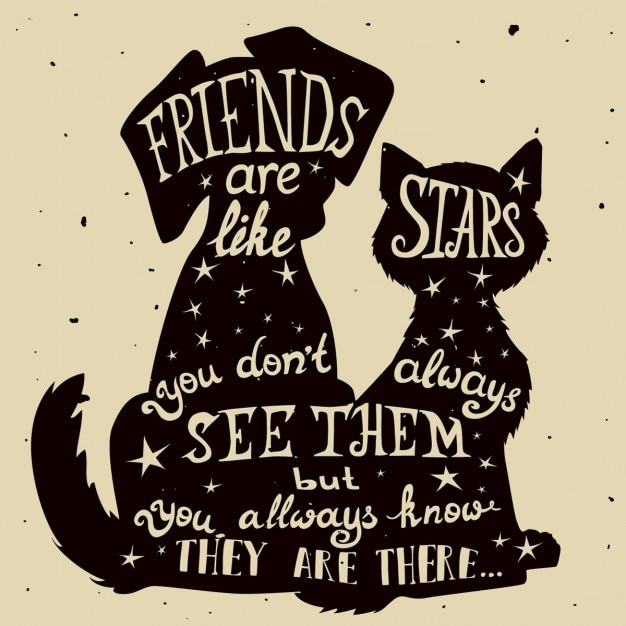 Amigos do gato e do cão do cartão sujo Vetor grátis