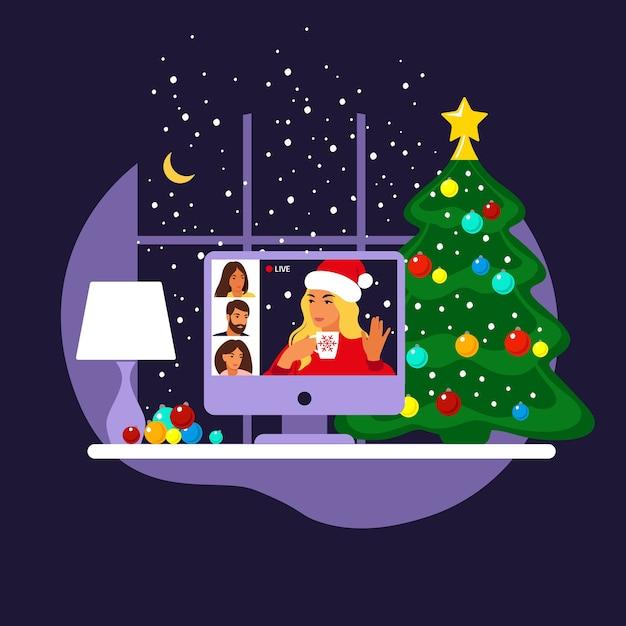Amigos felizes comemoram o natal e o ano novo. festa online em casa. Vetor Premium