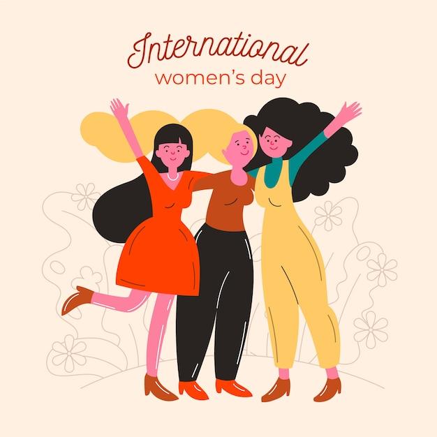 Amigos felizes do dia internacional da mulher Vetor grátis