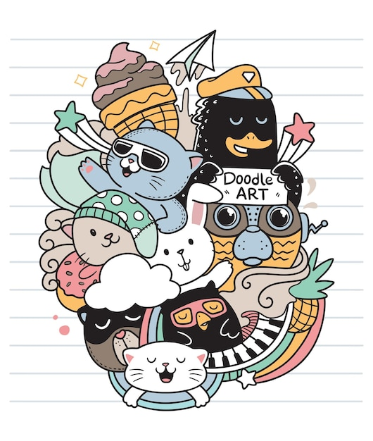 Amigos felizes doodle Vetor Premium