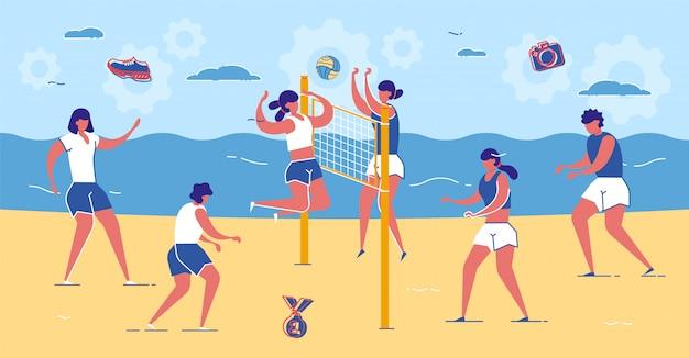 Amigos jogam vôlei na praia de areia perto do mar. Vetor Premium