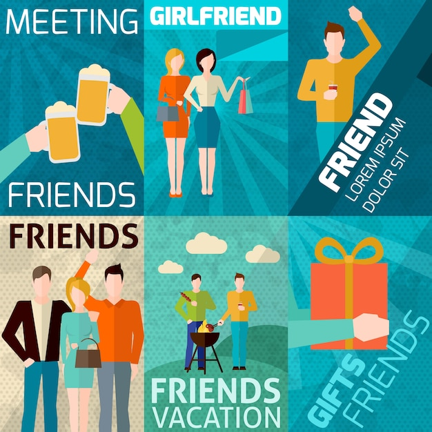 Amigos mini poster set Vetor grátis