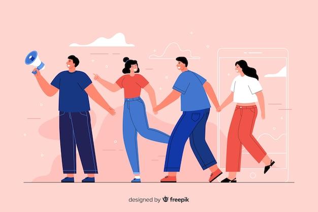 Amigos, segurando as mãos ilustração do conceito Vetor grátis