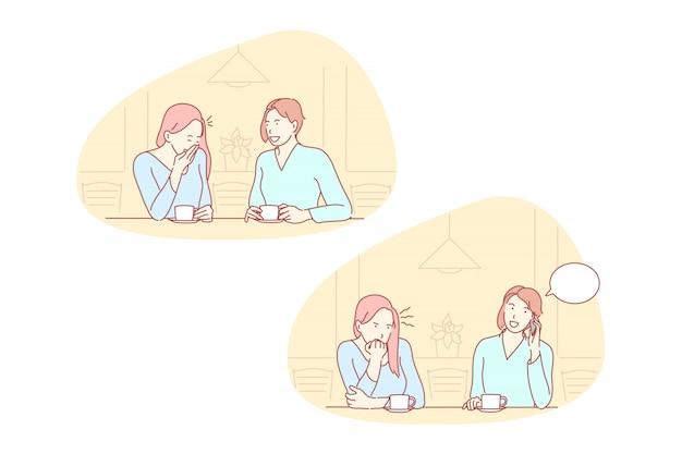 Amizade, ciúme, falta de educação definir ilustração Vetor Premium