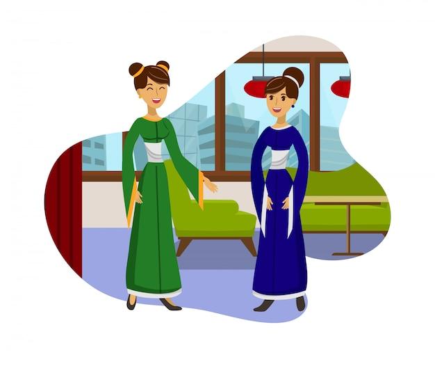 Amizade das mulheres, encontrando a ilustração de cor lisa Vetor Premium