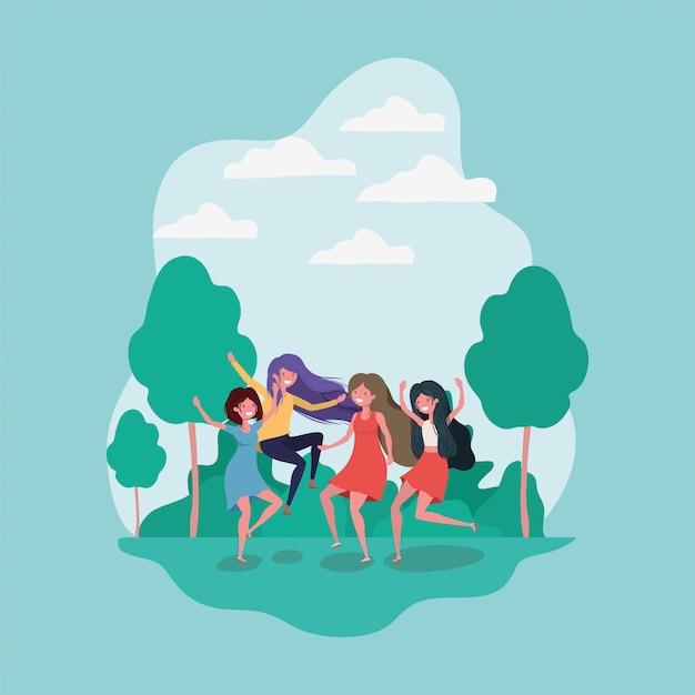 Amizade de desenhos de meninas Vetor grátis