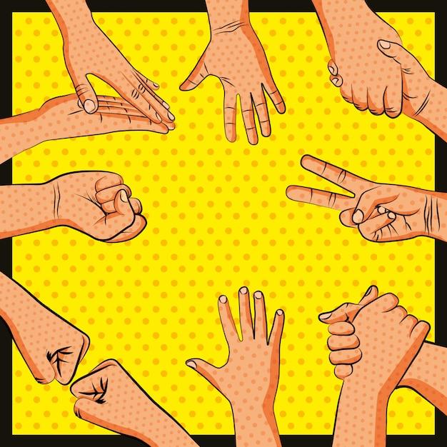 Amizade mãos saudação pop art Vetor Premium