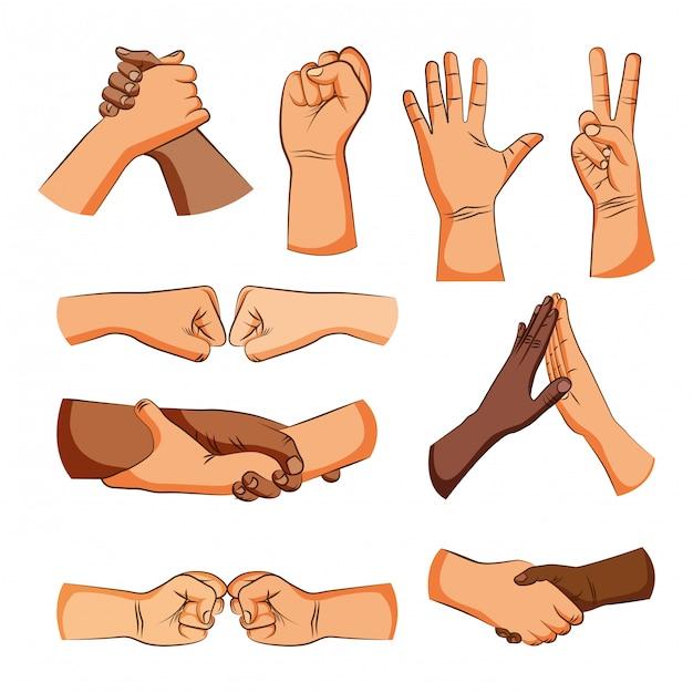 Amizade mãos sinais saudação desenhos Vetor Premium