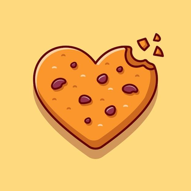 Amo a ilustração do ícone dos desenhos animados de biscoitos de chocolate. Vetor grátis