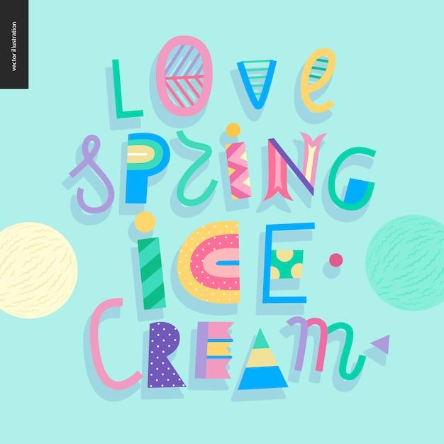 Amo a rotulação de sorvete de primavera Vetor Premium
