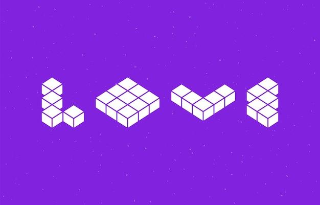 Amo a tipografia com design de fonte de forma geométrica. Vetor Premium