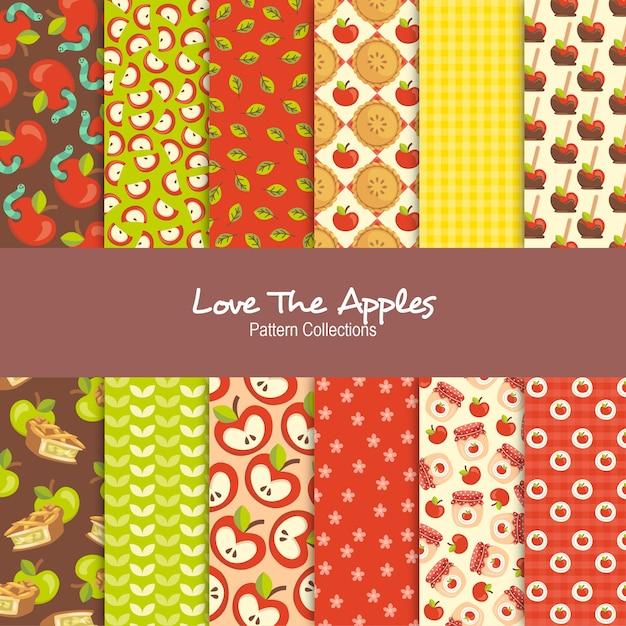 Amo as coleções de padrão de maçãs Vetor Premium