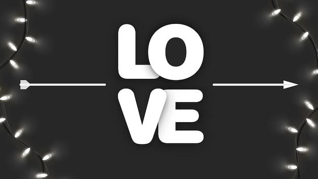 Amo caligrafia com seta cupido no preto com guirlanda brilhante. dia dos namorados, dia da mulher, banner da mãe. arte e Vetor Premium