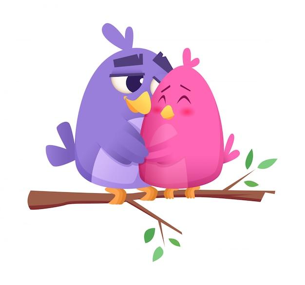 Amo casais de pássaros, machos e fêmeas animais pássaros bonitos sentado no galho st valentine conceito fundo Vetor Premium