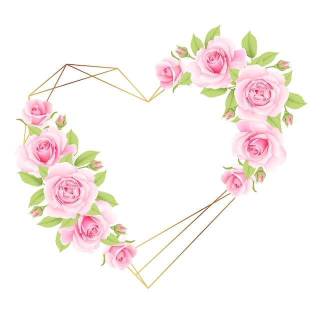 Amo fundo de quadro floral com rosas cor de rosa Vetor Premium