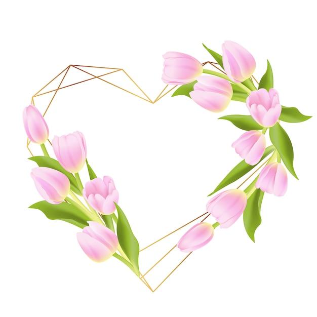 Amo fundo de quadro floral com tulipa rosa Vetor Premium