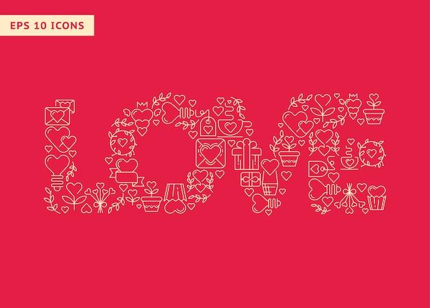Amo letras grandes compostas por elementos na ilustração vetorial vermelha Vetor grátis