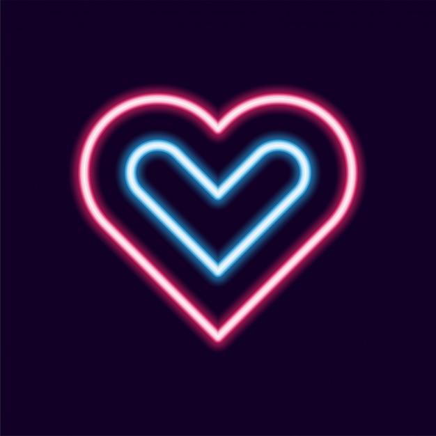 Amo o ícone de vetor de linha neon, anos 80 texto letra brilho luz estilo retro Vetor Premium