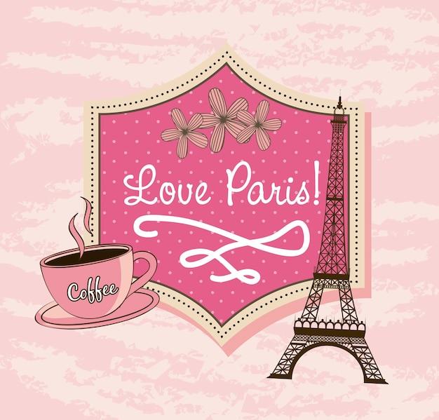 Amo paris com torre eiffel e café Vetor Premium