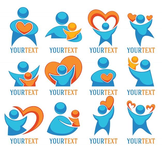 Amo pessoas família e corações grande coleção de logotipo Vetor Premium