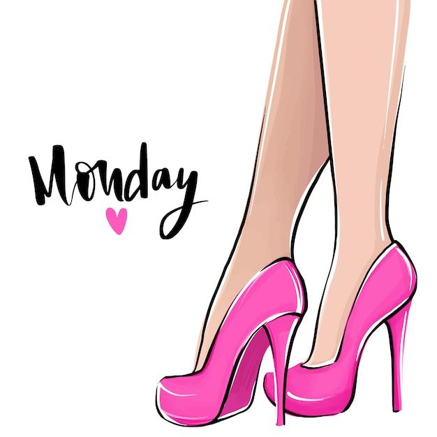 Amo segunda-feira. garota de vetor de salto alto. ilustração de moda. pernas femininas em sapatos. Vetor Premium