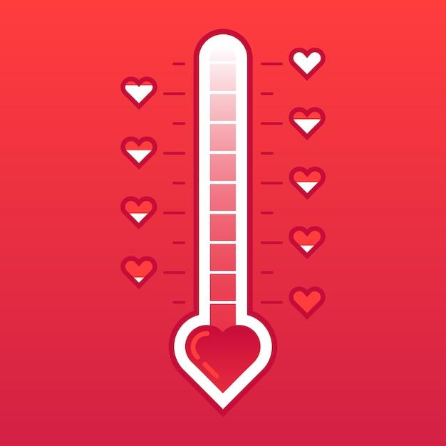 Amo termômetro. cartão de dia dos namorados contador de temperatura do coração quente ou congelado. medidor de nível de amor Vetor Premium