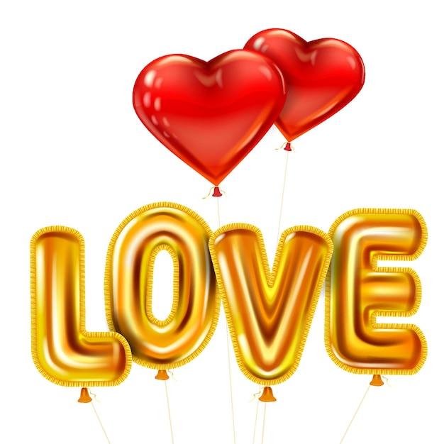 Amo texto realista de balões brilhantes de ouro hélio metálico brilhante, formato de coração voando em balões vermelhos, feliz dia dos namorados Vetor Premium