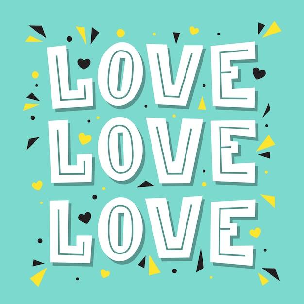 Amor amor amor. ilustração de letras Vetor Premium