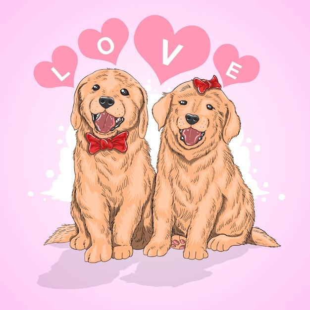 Amor cão casal Vetor Premium